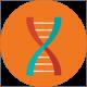 a futuristic double helix icon on orange background